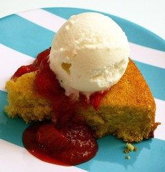 orange-cornmeal cake with strawberry-rhubarb compote and vanilla fro yo