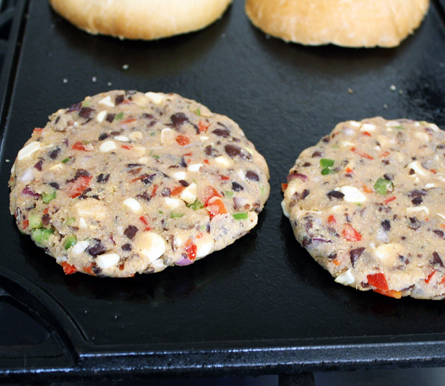 black bean patties on the griddle