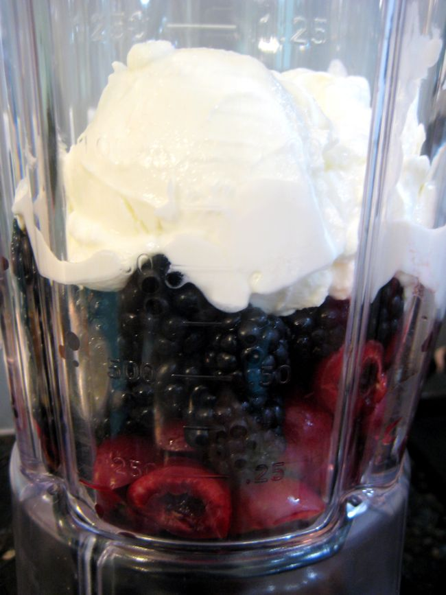 blackberries, cherries, and yogurt in the blender