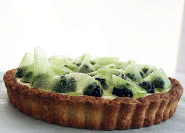blackberry, lime, and honeydew tart