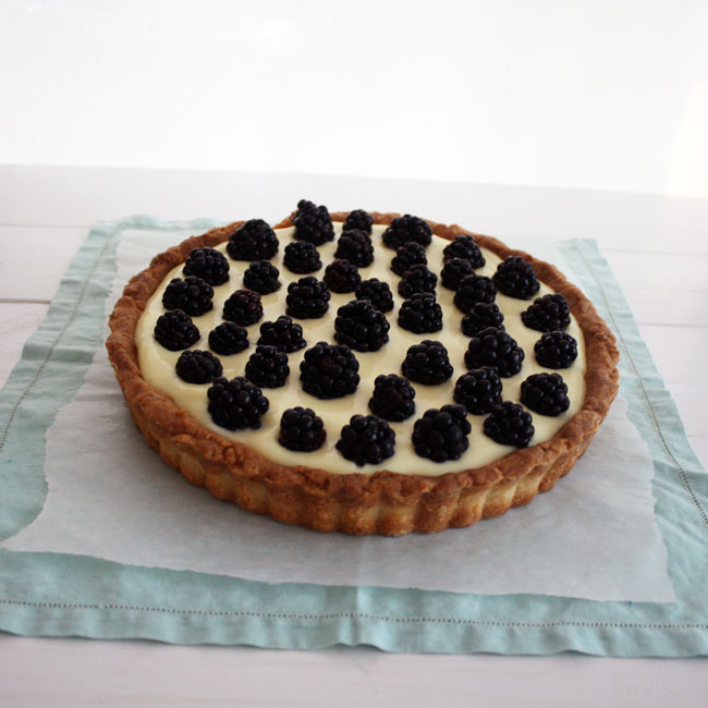 lime curd and fresh blackberries in a shortbread crust