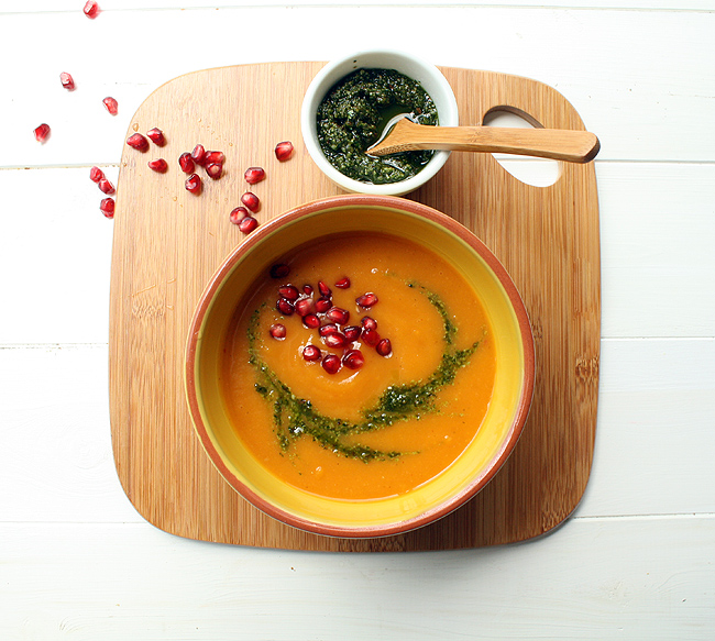 butternut squash soup with cilantro pesto and pomegranate seeds