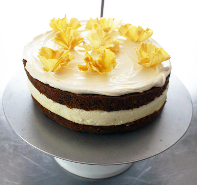 carrot cheesecake with pineapple flowers