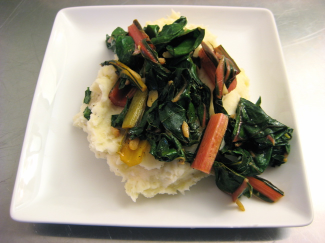 chard with garlic and lemon over mashed potatoes