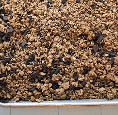 a pan of chocolate granola