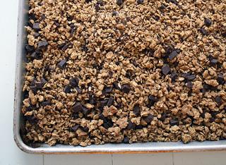 a pan of chocolate granola