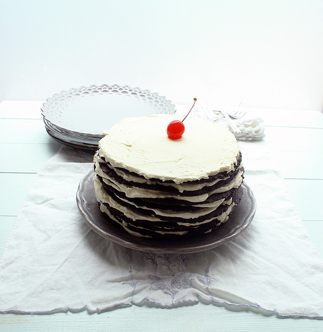 chocolate icebox cake with a cherry on top