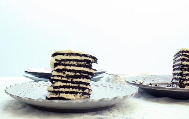 a close-up of chocolate icebox cake