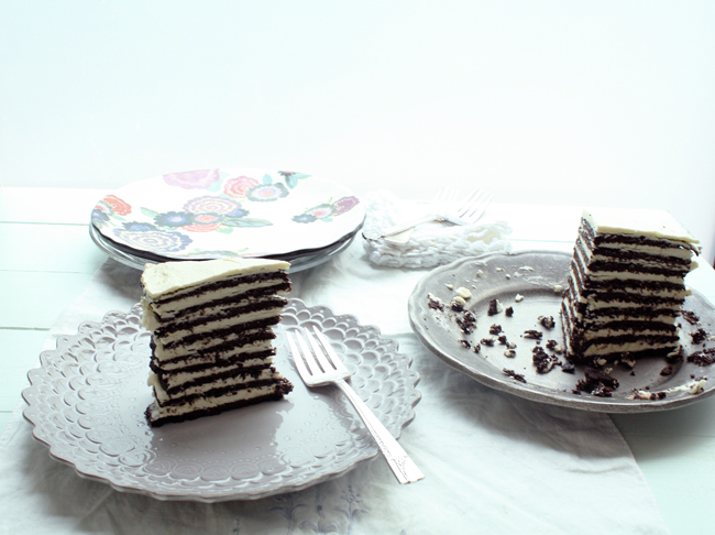 a slice of chocolate icebox cake