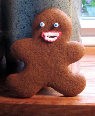 chompers the gingerbread man (on the lam!)
