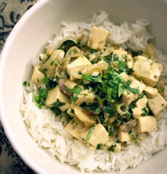 coconut tofu with ginger and lemongrass over rice