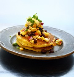 corn pancakes with corn-mango-black-bean salsa and sour cream