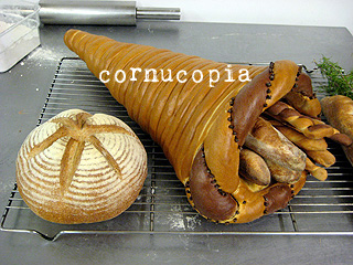 cornucopia next to a parisian boule