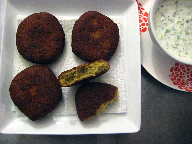 fried falafel with tzatziki sauce