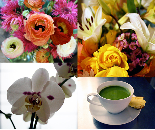 flowers and detox soup (tasty cornbread not included)