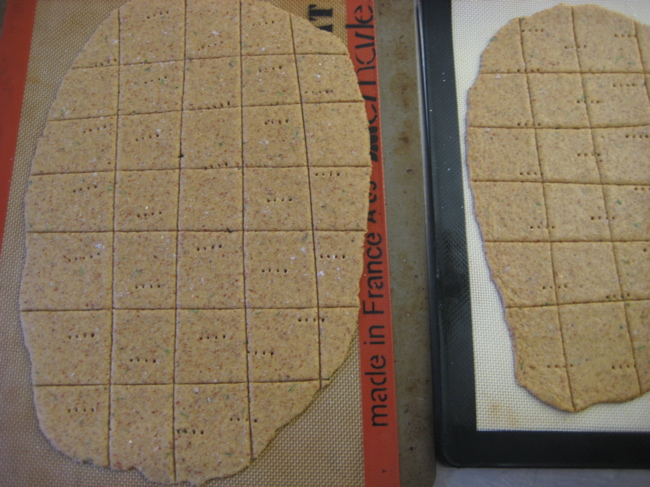 gluten-free cracker dough, rolled and scored