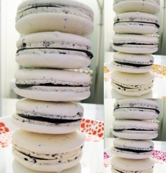 a stack a cacao nib macarons