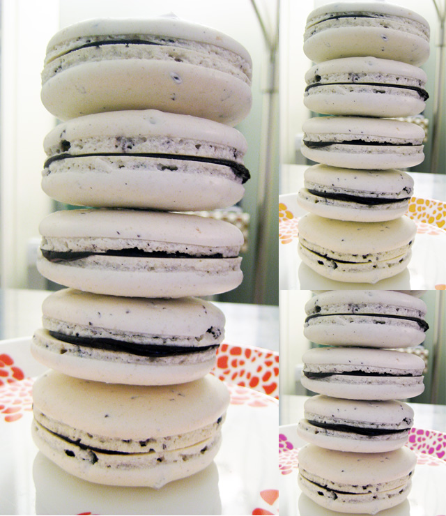 a stack of cacao nib macarons