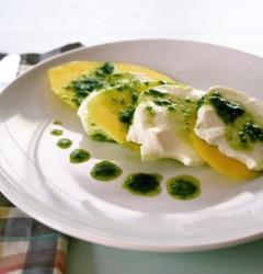 mango caprese with basil vinaigrette