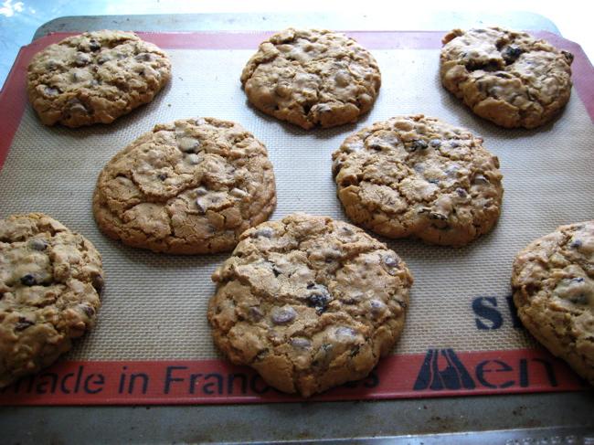 a pan of oatmeal chocolate cherry pecan cookies