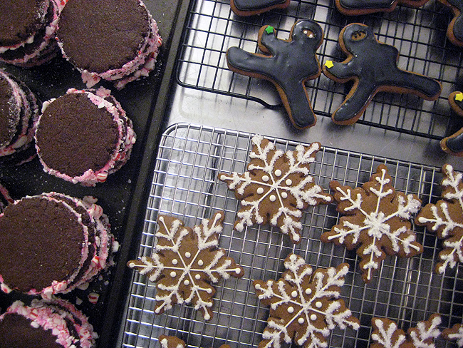 peppermint sandwich cookies, snowflakes, ninjabread men