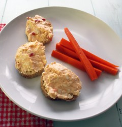 pimento cheese on baguette with pickled carrots
