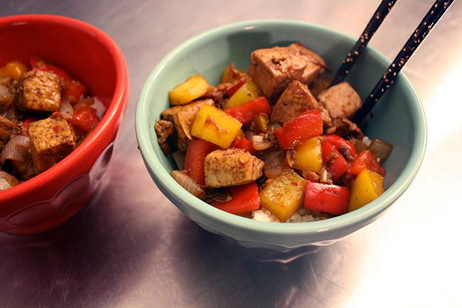 pomegranate-chile tofu over rice