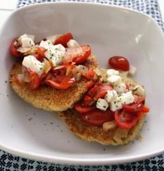 quinoa cakes with tomatoes, mozzarella, and basil