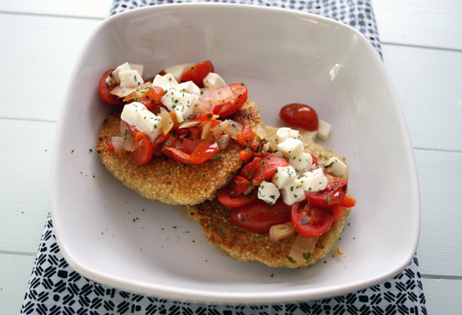 quinoa cakes with tomatoes, mozzarella, and basil