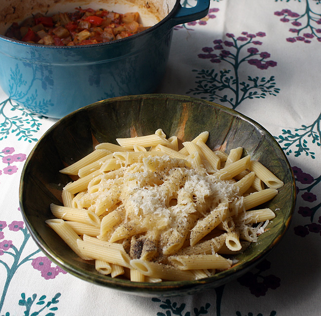 pasta with pepper and parmesan
