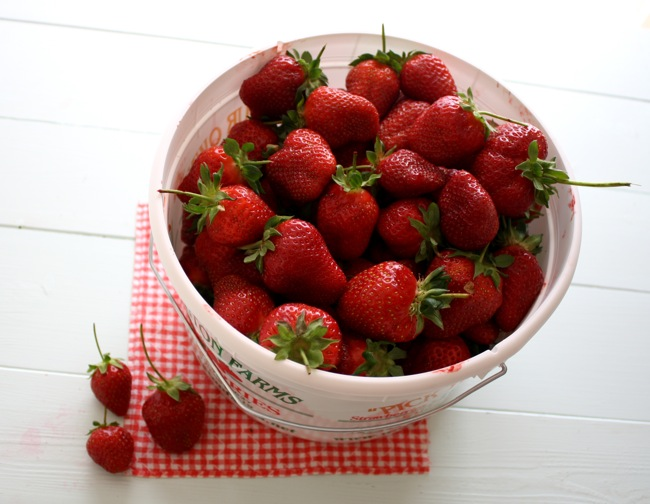 a gallon of fresh-picked strawberries
