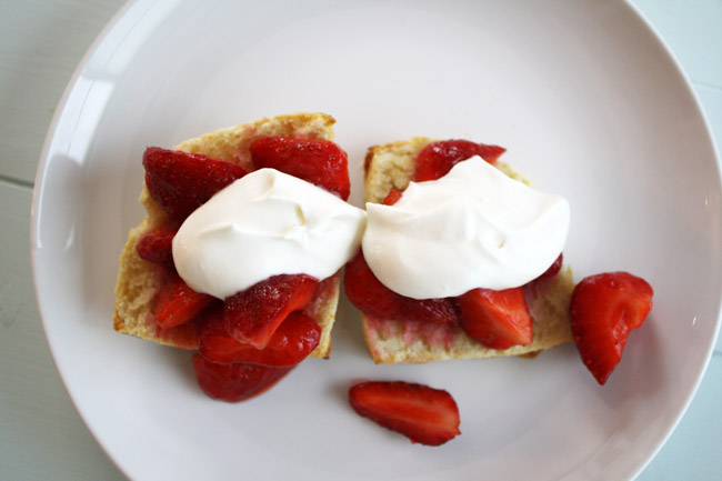 cream biscuits with macerated strawberries and fresh whipped cream