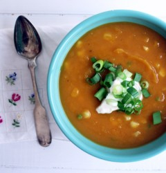 a bowl of sweet potato, corn, and jalapeño soup