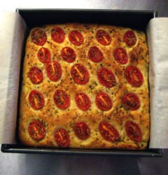 tomato potato foccacia with oregano