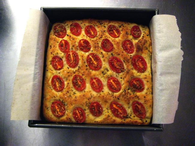 tomato potato foccacia with oregano
