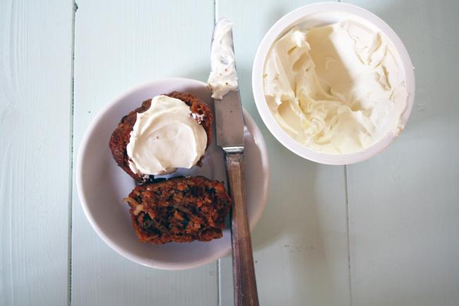vegan morning glory muffins with (non-vegan) cream cheese