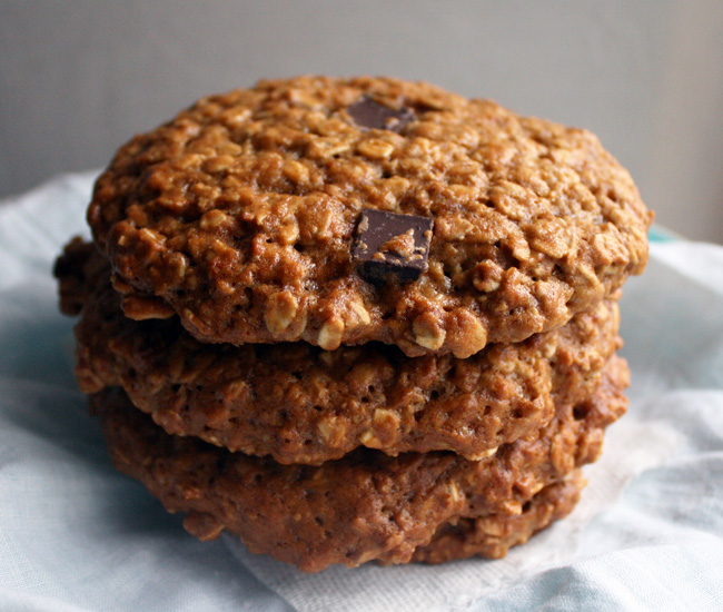 a stack of vegan oatmeal cookies