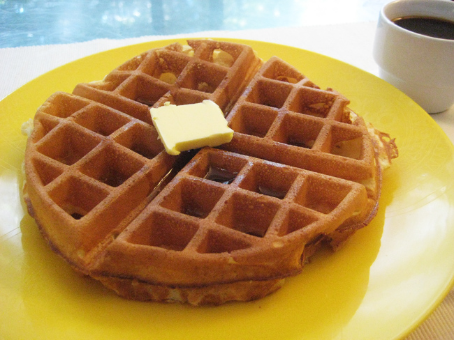 waffle with butter and maple syrup (and coffee!)