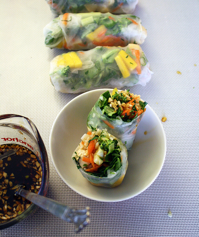 halved summer rolls and dippin' sauce