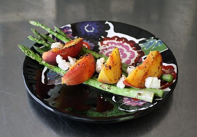 peach, asparagus, and goat cheese salad