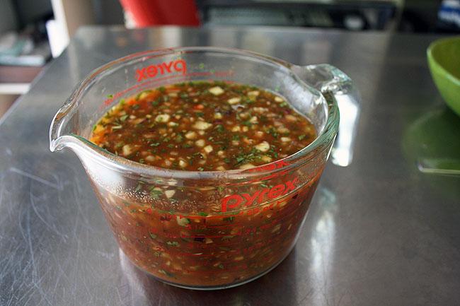 gazpacho, ready to chill in fridge