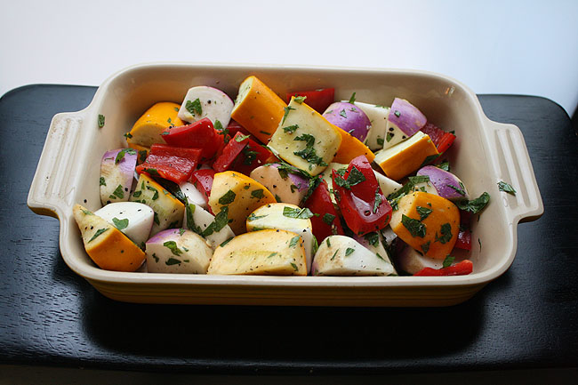 squash, turnips, and bell peppers with lemon and mint