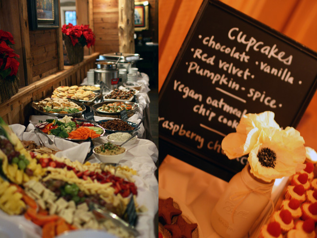 the buffet and a close-up of the dessert table