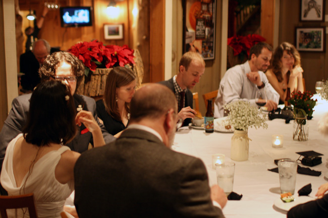 one of the long tables in the main dining room